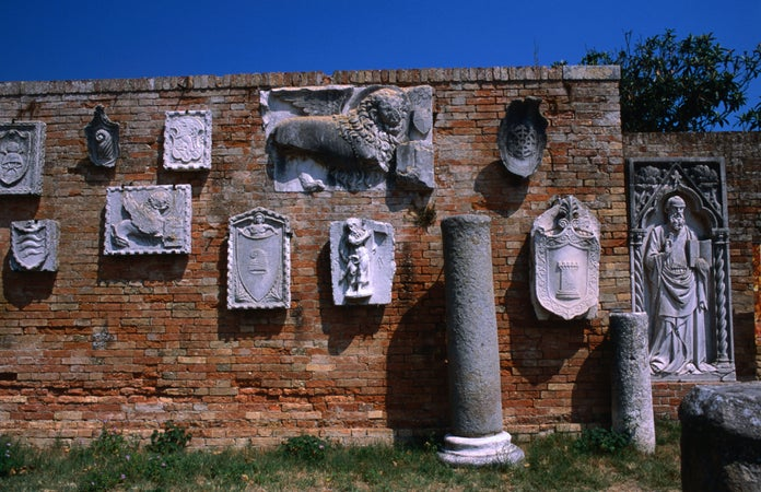 Relics from 7th to 13th centuries in Museo di Torcello on Torcello Island, Venice, Italy