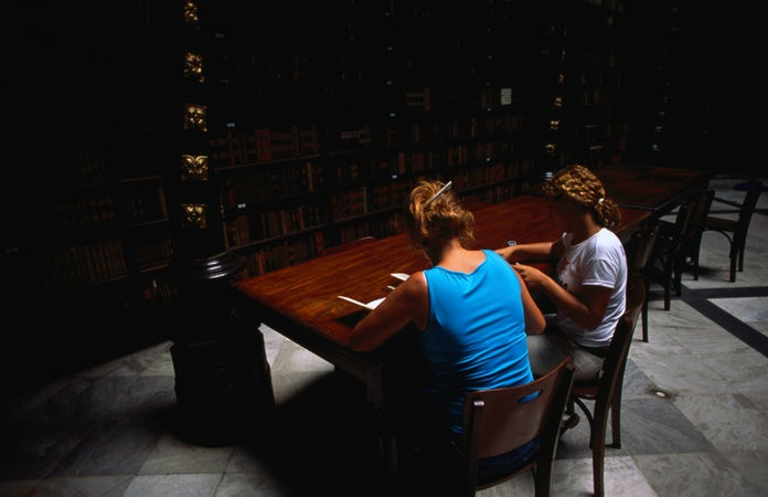 Women sitting at table in language school, Real Gabinete Portugues de Leitura, Centro, Rio de Janeiro City, Brazil