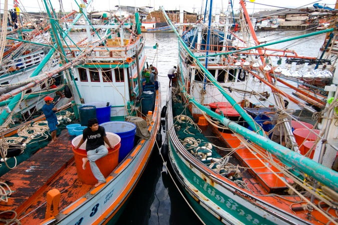 Fishing boats at pier, Phuket Province, Thailand