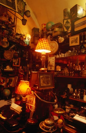 Interior of Bric-a-Bric shop with second-hand goods on display, Tynska Street, Prague, Czech Republic