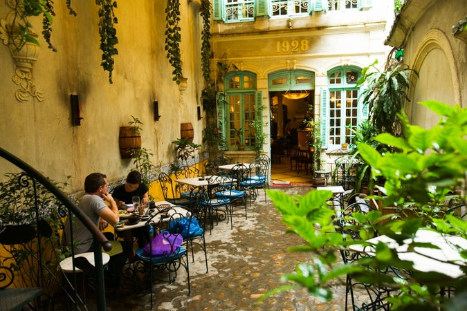 Courtyard of Green Tangerine Restaurant, Old Quarter, Hanoi, Vietnam