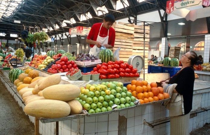 Kuznechny market - fruit and vegetable stall, St Petersburg, Russia