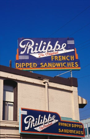 Sign for Philippe French Dipped Sandwiches, Downtown, Los Angeles, USA