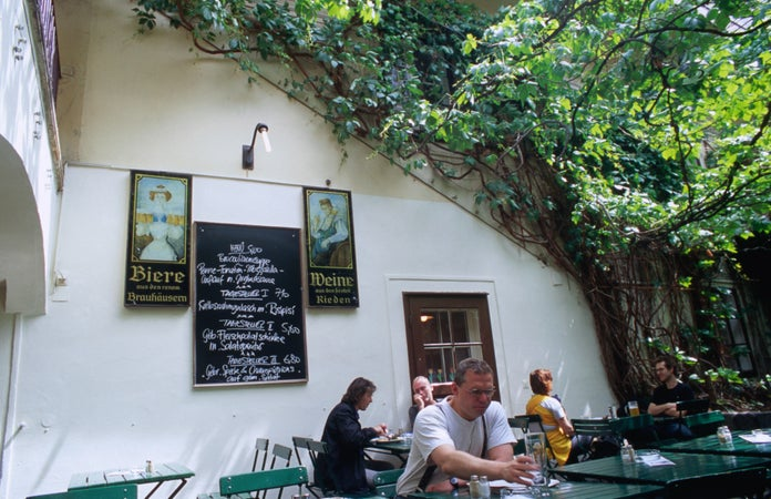Beer garden at Amerlingbeisl, Neubau, Vienna, Austria