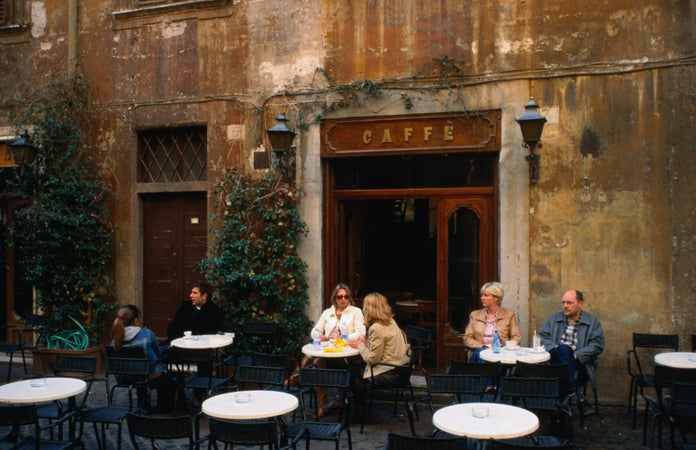 Leisurely afternoon outside Caffe della Pace, Via della Pace 5, Rome, Italy