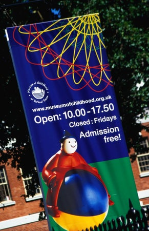 Museum of Childhood banner, Bethnal Green, London, England