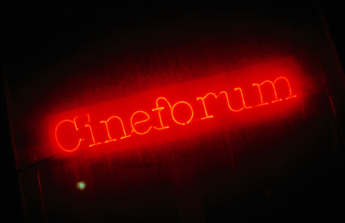 Sign for Cineforum in Little Italy, Toronto, Canada