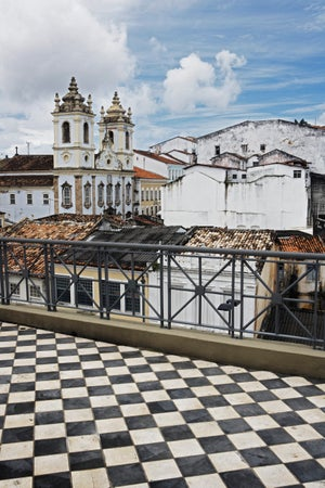Slaves' Church seen from a checkered rooftop in Pelourinho, Salvador, Brazil