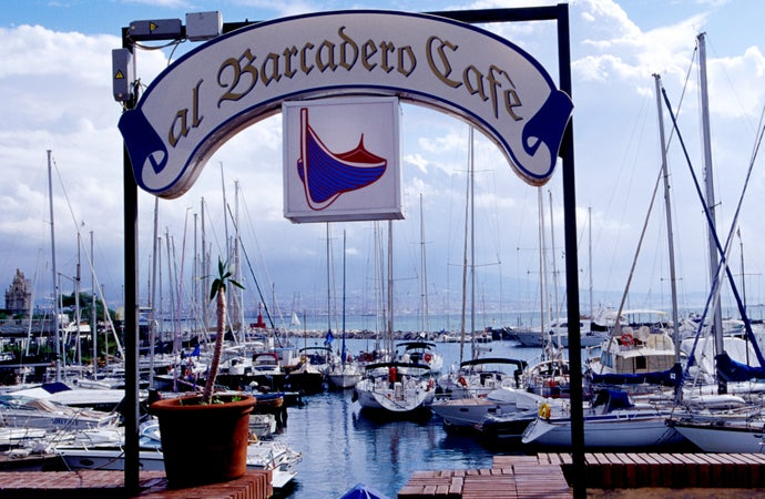 Looking out from al Barcadero Cafe, Naples, Italy