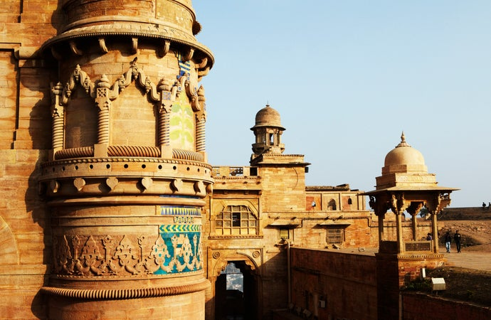 Man Singh Palace in Gwalior Fort, also known as painted palace, Gwalior, India