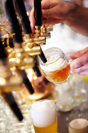 Czech beers being poured at U Medvidku micro brewery, Prague, Czech Republic