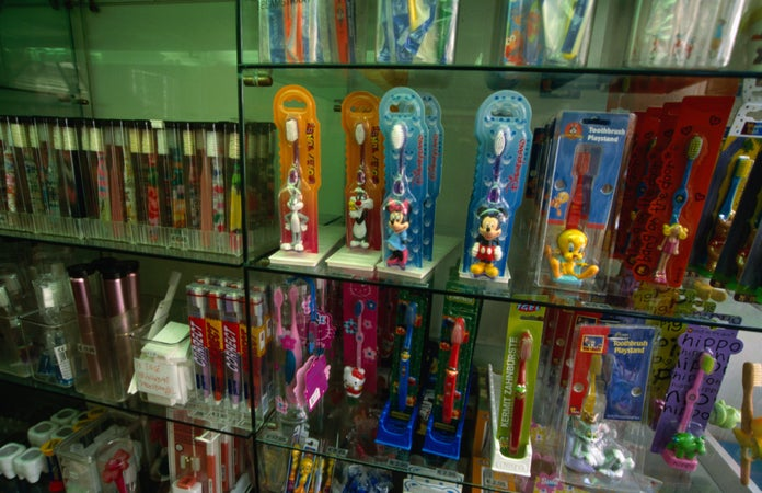 Novelty toothbrushes on display at De Witte Tanden Winkel, a specialty shop for dental care products on Runstraat, Amsterdam, The Netherlands