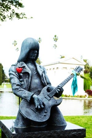 Statue of Johnny Ramone at Hollywood Forever Cemetery, Los Angeles, USA