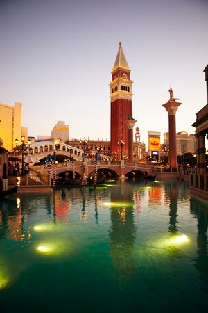 Replica Bridge of Sighs over canal at Venetian Hotel, Las Vegas, USA