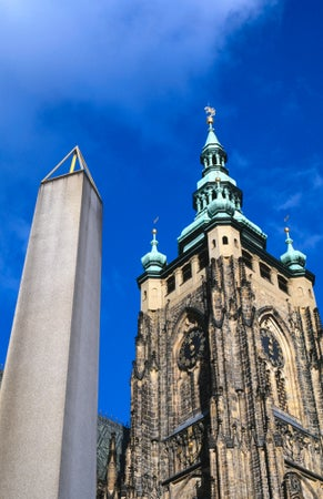 Plecnik's Monolith (by Joze Pleenik) next to St Vitus's Cathedral, Prague, Czech Republic