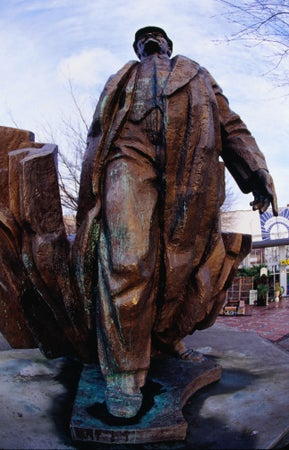 Lenin statue, which stands in the Fremont area, is bronze, 16 feet tall and 7 tons of Slovakian scrap from the fall of communism, Seattle, USA
