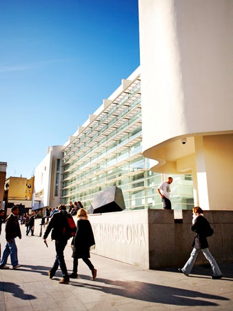 Exterior of MACBA (Musea d'Art Contemporani) on Placa dels Angels in El Ravel district, Barcelona, Spain