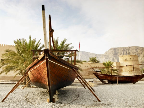 Fishing boats beside Khasab Castle, Khasab, Oman
