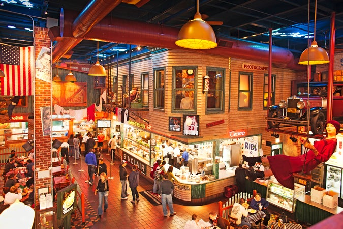 Interior of Portillo's restaurant, Chicago, USA
