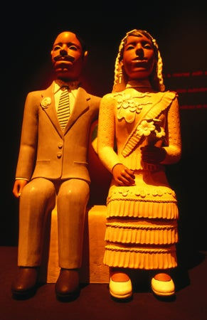 Statue of wedding couple on display at Museu Folclorico Edson Carmeiro, Catete, Rio de Janeiro, Brazil