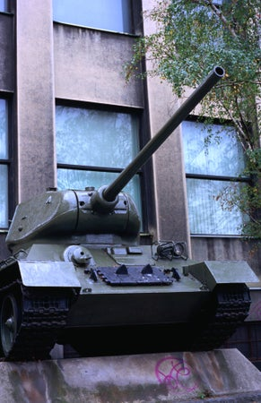 Soviet WWII T-34 tank in front of Czech Republics Resistance and Army Museum at bottom of Zizkov Hill, Prague, Czech Republic