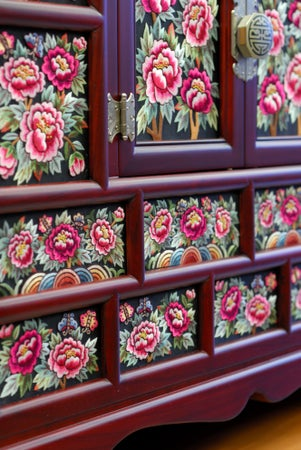 Detail of Kukjae Embroidery, Insadong, Seoul, South Korea