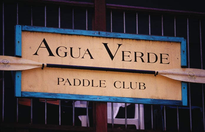 Sign of the Agua Verde Cafe in Portage Bay, Seattle, USA