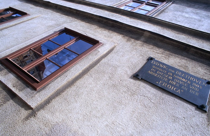 Memorial plaque on facade of Beethoven's residence, Innere Stadt. , Vienna, Austria
