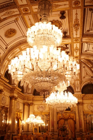 A pair of crystal chandeliers hanging in Durbar Hall of Jai Vilas Mahal Palace, Gwalior, India