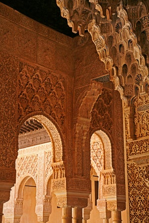 Detail at Palacio de los Leones which is one of the three main palaces that forms the Palacio Nazaries, Alhambra, Granada, Andalucia, Spain, Granada, Spain
