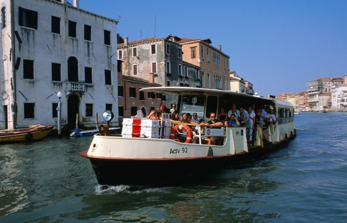 Vaporetto taking  passengers to the Lido, Venice, Italy
