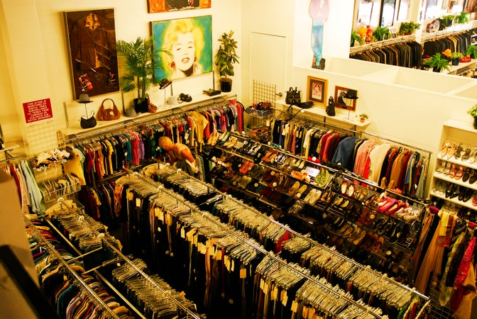 Interior of It's A Wrap celebrity used clothing shop, Burbank, Los Angeles, USA