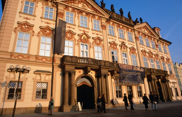 Kinsky Palace in Prague, built on the site of two medieval houses, the palace was built between 1755 and 1765 by A. Lurago, Prague, Czech Republic