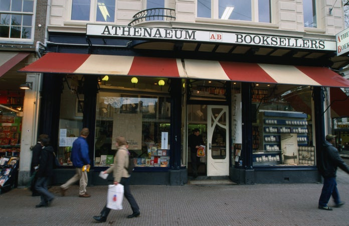 The shopfront of Athenaeum Booksellers on Spui, Amsterdam, The Netherlands
