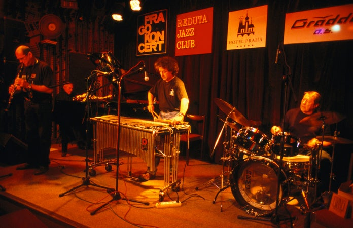 Four piece jazz band plays in Prague's Reduta Jazz Club, Prague, Czech Republic