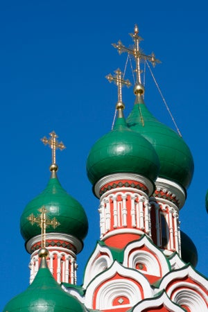 Onion domes atop Church of the Trinity in Nikitniki, Moscow, Russia