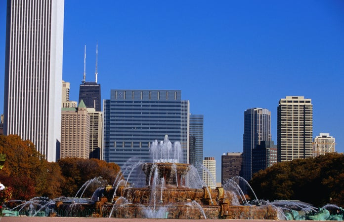 Buckingham Fountains in Grant Park. , Chicago, USA