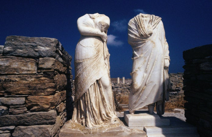 The headless statues of Cleopatra and Dioscrides, Delos, Greece