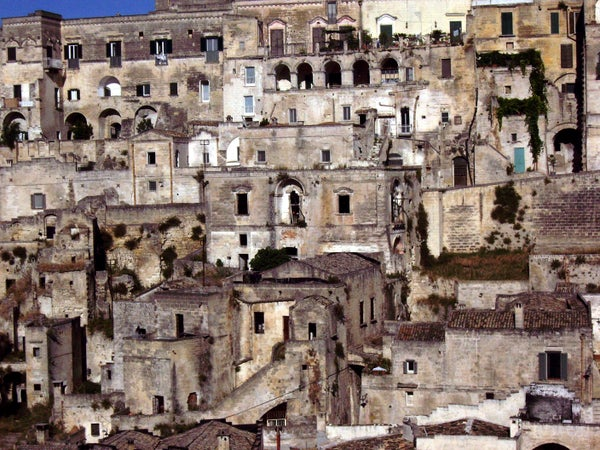 Sassi di Matera cave dwellings houses in southern Italy, Matera, Italy