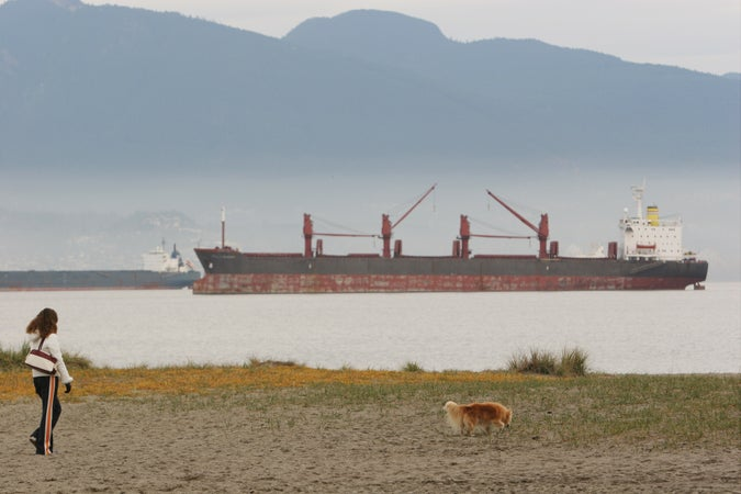 Woman and her dog at Jericho Beach in front of ship, Kitsilano. , Vancouver, Canada