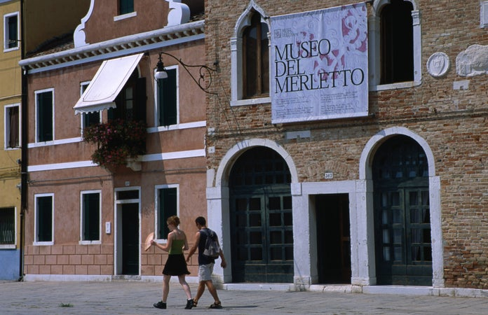 Museo del Merletto in Piazza Galuppi is museum of lace work on Burano Island, Venice, Italy