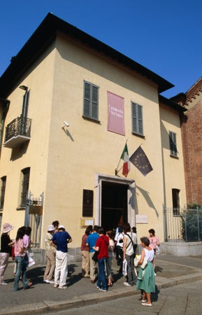 "People queuing outside Cenacolo Vinciano to see ""The Last Supper"", Milan, Italy"