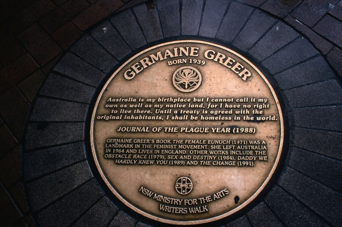 A plaque on Writers Walk, honouring the life and work of Germaine Greer - Sydney, New South Wales, Sydney, Australia