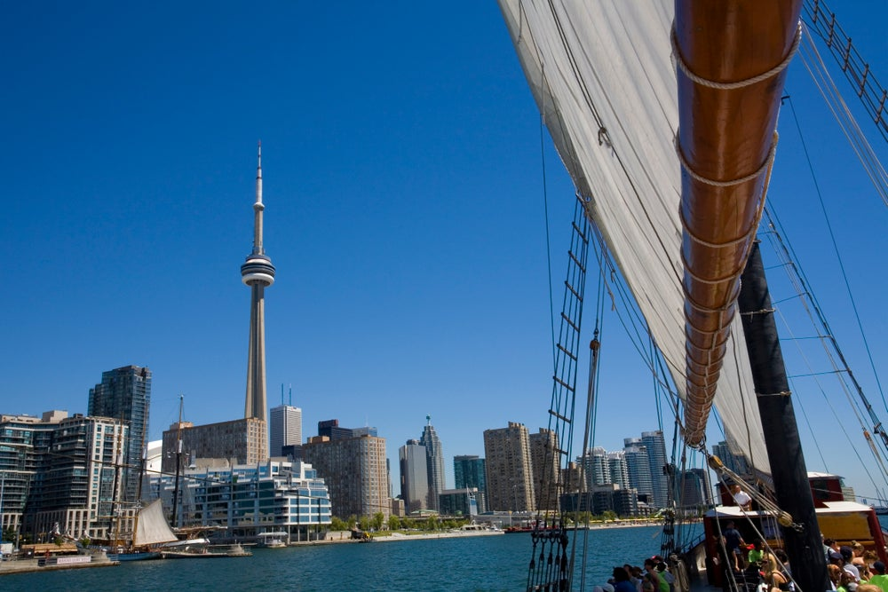 Toronto skyline from Tall Ship Kajama.