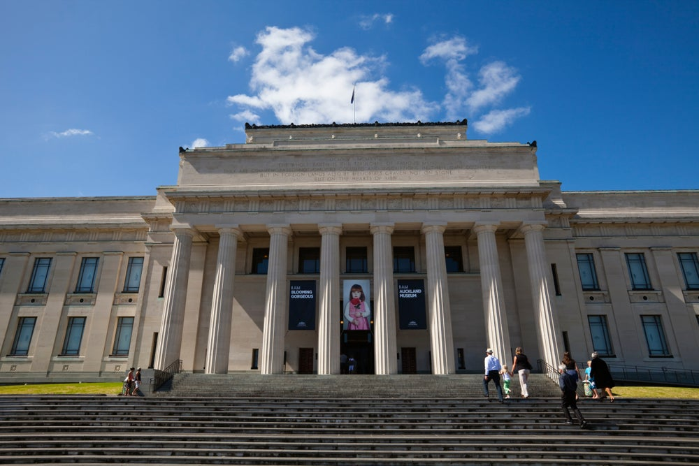 Visitors on the steps of the Auckland Museum.