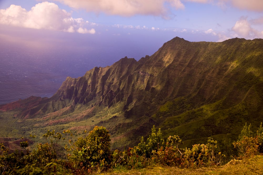Valley and ocean from Kalalau Lookout.