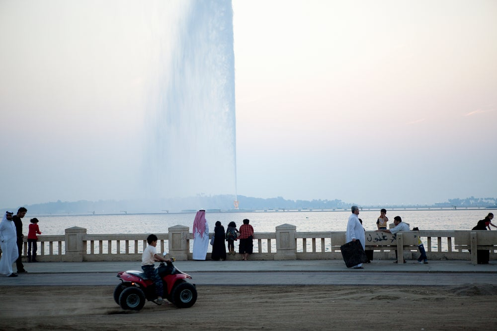 Corniche at sunset with King Fahd's Fountain.