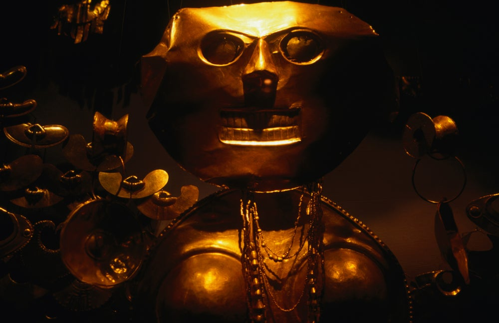Gold sculpture on display at the Museo del Oro.