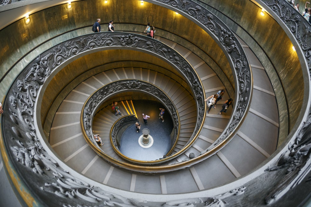 Spiral staircase at the Vatican Museums.