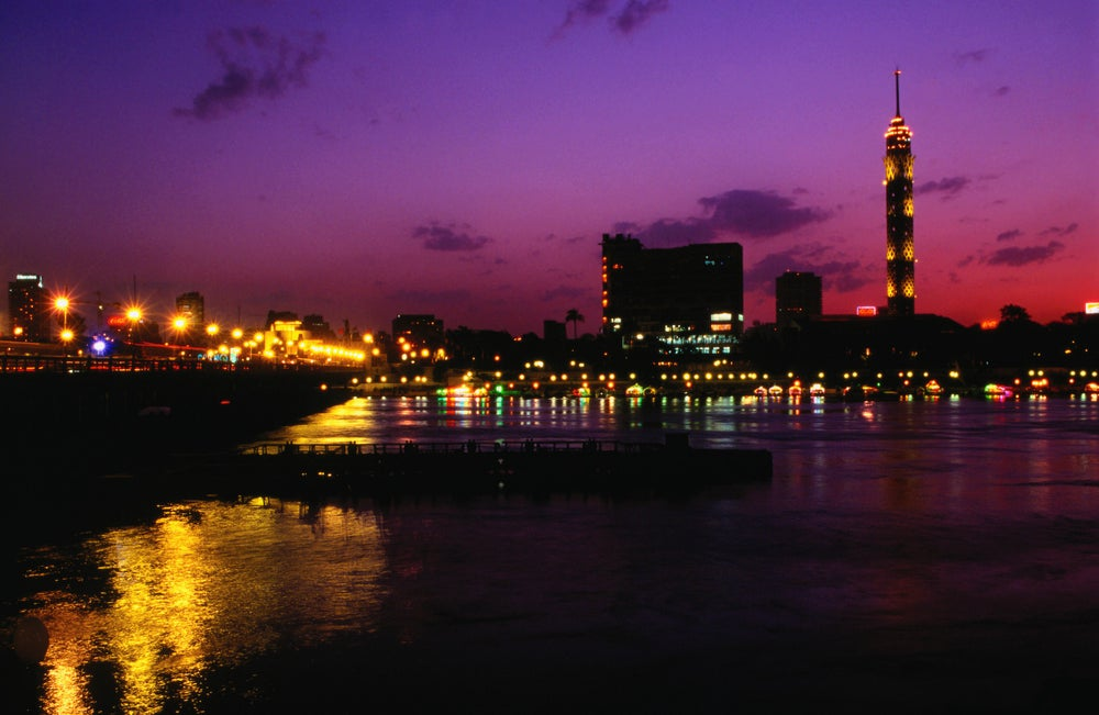 Night view of the City Tower and Zamalek area - Cairo